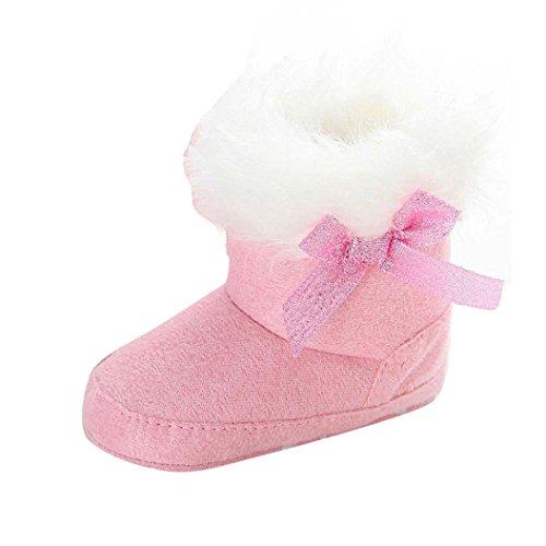 Manter Clode® Criança Botas De Neve Arco Quente Baby Girl Solas Macias Botas Berço Sapatos Botas De Inverno Rosa