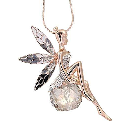 Scpink Angel Wings Collana Donna Lovely Angel Wings Collana di cristallo a farfalla Lunghe offerte di gioielli maglione Liquidazione (Oro)