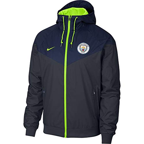 Nike Manchester City FC Chaqueta, Hombre, Dark Obsidian/Volt, Large