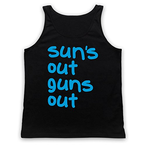 My Icon Art & Clothing Sun's Out Guns Out Gym Slogan Tank-Top Weste, Schwarz, Large (Suns Out Guns Out Tank Top)