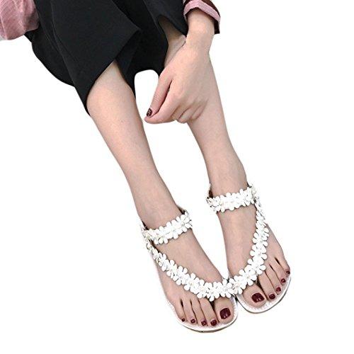 Beikoard promozione della moda sandali donna taco perline donna estate bohemia flower flip-flop scarpe sandali piatti (bianca, 36)