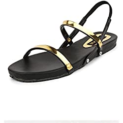 Do Bhai Rose Fashionable & Stylish Flat Sandal for Women (EU41, Black)
