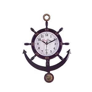 eCraftIndia Plastic Decorative Retro Pendulum Wall Clock (24.13 cm x 2.54 cm x 33.01 cm, Brown)