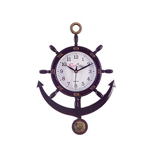 Ecraftindia Decorative Retro Anchor Brown Pendulum Wall Clock