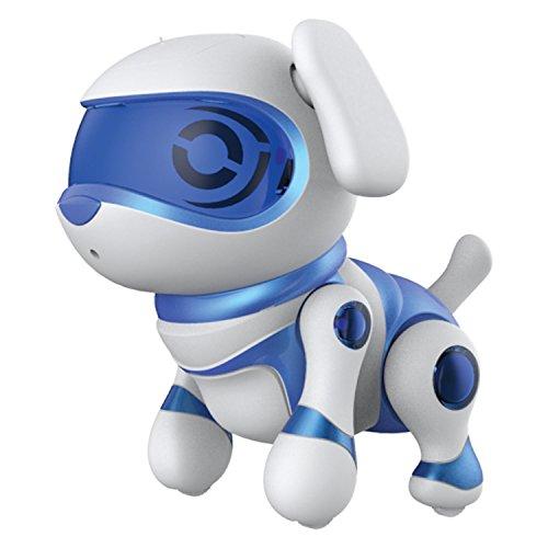 Teska  - Figura Perro Robotic, de plástico, Color Blanco y Azul (30643)