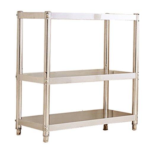 Küchenregal ZCJB Edelstahl-Regal 3 Ebenen Multilayer Thicker Shelf Badezimmer Hotels Küche Lagerung Rack (Farbe : L70*W35*H80CM) -