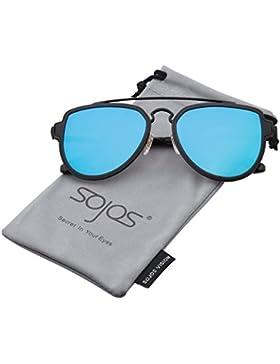 SOJOS Gafas De Sol Hombres Mujeres Polarizadas Unisex Aviator Clásico Doble Puente SJ1051 Marco Negro/Lentes Azul...
