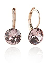 Idea Regalo - Eleganti orecchini con Swarovski Elements, in oro rosa con taglio a brillante, disponibili in molti colori, colore rosa Rosa - Light Rose Taglia unica