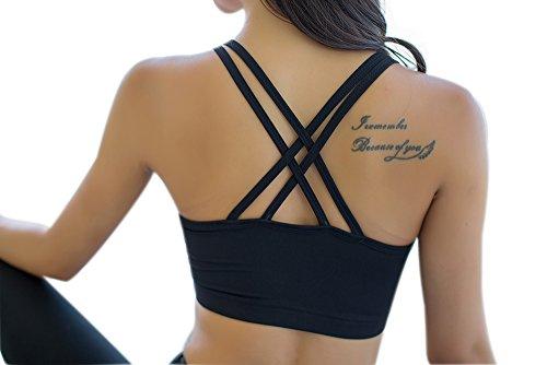 Retour Mme sexy croix et confortables sport soutien-gorge sommets de yoga Noir