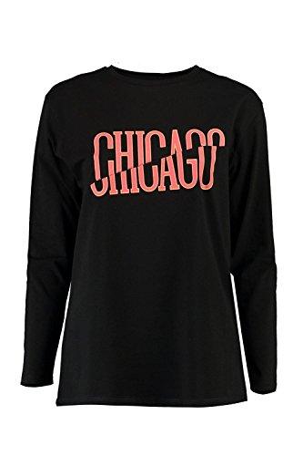 Noir Femmes Eva T-shirt Manches Longues Col Bateau Imprimé Noir