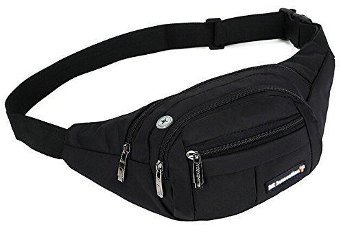 Schwarze Bauchtasche für Reise, Sport & Outdoor Aktivitäten. Gürteltasche für Damen und Herren. Hüfttasche mit Kopfhöher-Öffnung.