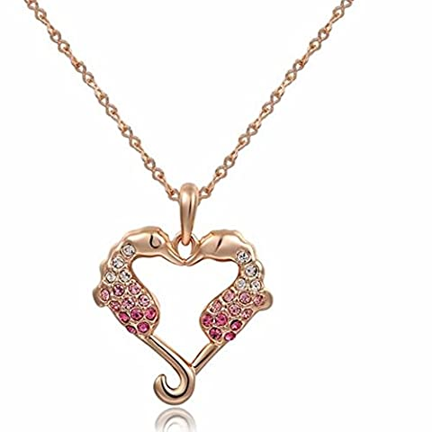 yeahjoy Charme Femme Or Rose 18carats Hippocampe Animal cristal Colliers colliers en forme de cœur