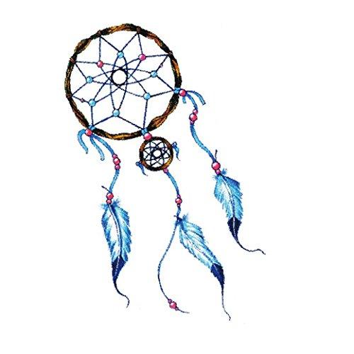 HLHN 7 Verschiedene Muster Ungiftig Wasserdichte Temporäre Tattoos 3D Body Art Dreamcatcher Umweltschutz Gefälschte Tattoos Aufkleber (F) - Liebe Mit Flammen Drache Der