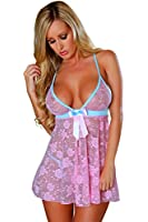 Beautiful Ladies Floral Lace Babydoll With Powder Blue Satin Trim