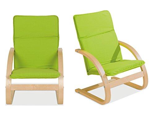 Home4You Kindersessel Kinderstuhl Freischwinger BONNY 4   Apfelgrün   Holz   Baumwolle   Sitzhöhe 28 cm - 2