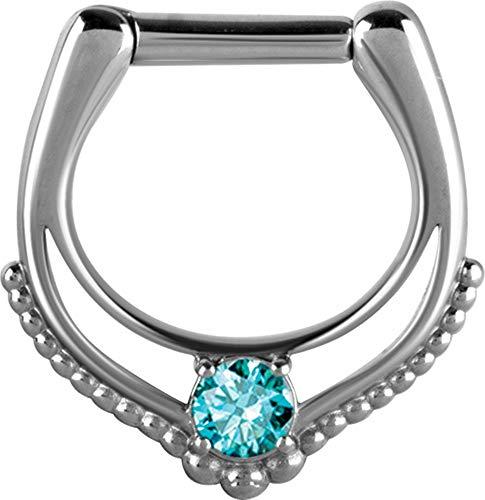 eeddoo® Septum-Piercing CLICKER-NASENRING aus silbernen Edelstahl mit Kristallbogen Kugel Design (AQ - Aquamarin)