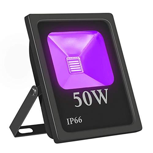 UV LED Luce Nera per Esterni,Eleganted Ultravioletto Luce di Inondazione Impermeabile IP66 Lampada Luci a LED 50W per Festa Indurimento Arte Negozio Centro esposizioni Painting Pesca Acquario