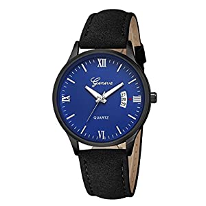 Mens Watches Sale Clearance,Men's Watches,Luxury Military Men's Date Stainless Steel Leather Analog Quartz Wrist Watches (E)