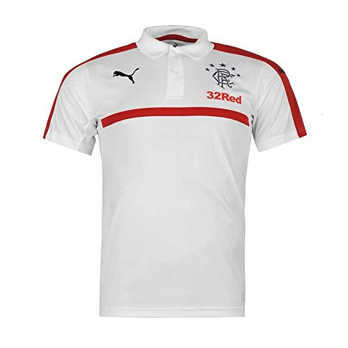 Puma-Mens-Rangers-Leisure-Polo-Shirt-Support-Sports-Short-Sleeve-Collar-Top-White-S