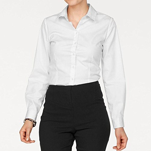 Bold Manner Chemisier Blouse Tunique Femme Tops Manche Longue OL Bureau Elégant Workwear Printemps Blanc