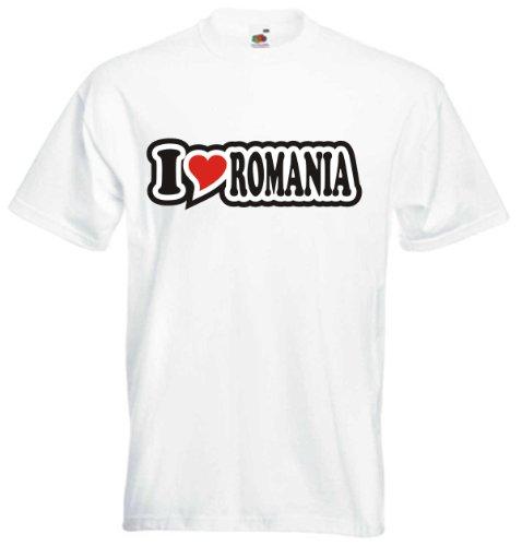 T-Shirt Herren - I Love Heart - I LOVE ROMANIA Weiß