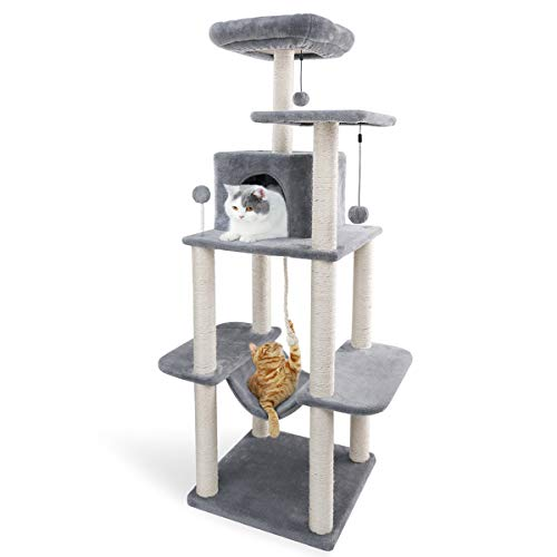 Eono Essentials Árbol para Gatos Rascador con nidos Sisal Cubierto Rascador Hamaca Plataformas Bolas de Juego Gris