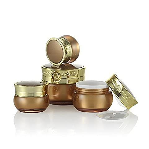 10ml/15ml/30ml Empty Gold Upscale Refillable Acrylic Makeup Cosmetic Face Cream Lotion Jar Pot Bottle Container with liners and Butterfly Ornamental Engraving Screw Lid (30ml/