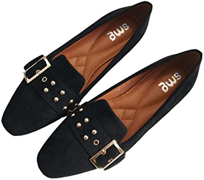 huateng Nuevos Zapatos de Mujer Gamuza Cuadrada Hebilla Zapatos Inferiores Planos Femenina de Gran Tamaño Ocio...