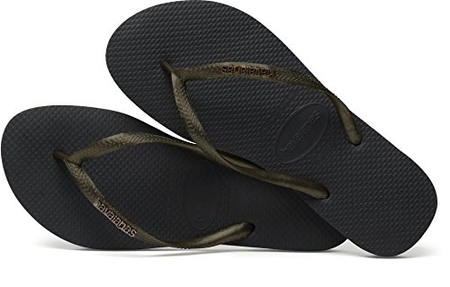 Havaianas Flip Flops Slim Logo Zehentrener für Frauen Schwarz (Black/Gold Glitter 0801)
