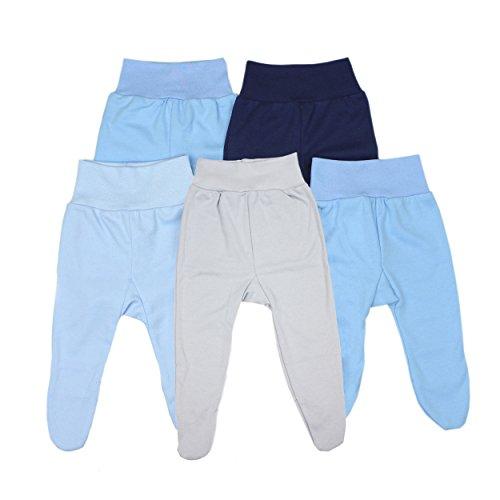 Baby Hose mit Fuß Stramplerhose Jungen 100% Baumwolle Strampelhose Mädchen Schlupfhose im 5er Pack, Farbe: Junge, Größe: 68