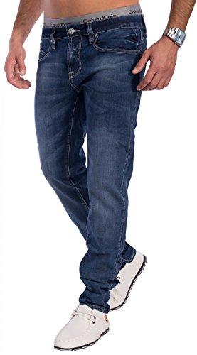 Herren Jeans · (Slim Fit) Dunkle Jeanshose im Used Look Vintage Stretch Denim mit schmalem Bein (Tapered Leg) und leichter Waschung (Stone Washed), classic · H1538 in Markenqualität Blau