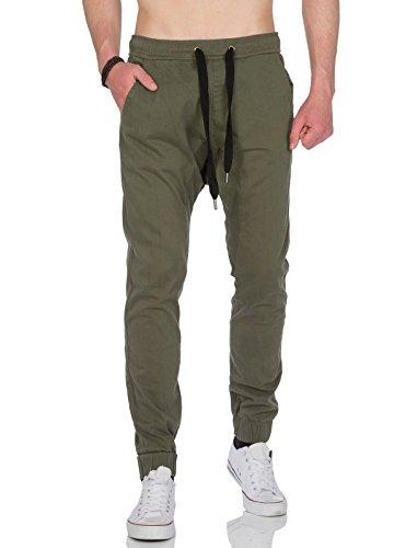 Rerock Young Rich Jogginghose Sweatpant Sarouel Chino Jeans Chinohose Hose Sport (M, Khaki)