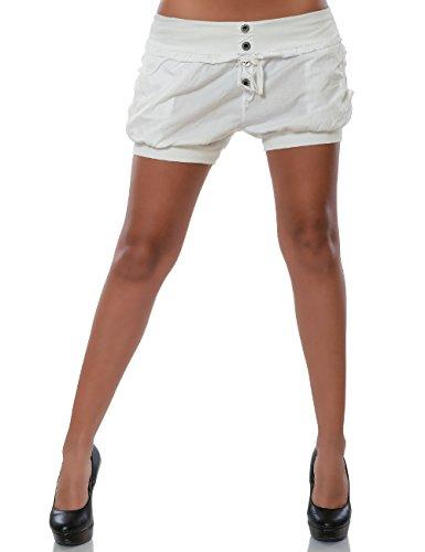 Damen Shorts Chino Hot-Pants Kurze Sommer Hose Luftige Stoffhose in Angesagten Farben No 15655 Weiß 38 / M