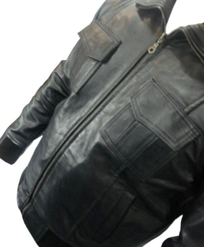 UNICORN Männer Echt Leder Jacke Bomber Schwarz #D7 Schwarz
