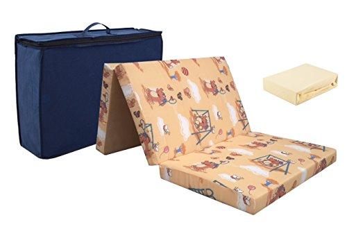 Baby Reisematratze aus hochwertigem Kaltschaum! 60 x 120 + Jersey Spannbettlaken ekrü ! Schaum Reisebett Matratze Klappmatratze Faltmatratze