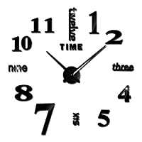 Mainstayae DIY ساعة الحائط بدون إطار 3D مرآة ساعة الحائط كبيرة كتم ملصقات الحائط لغرفة المعيشة ديكورات المنزل Black&EA002 LHBJ3968B-2CTSA