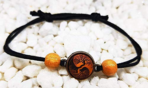 SOULSLICES Armband Yin Yang Baum mit Holzperlen - Strandschmuck - Festivalschmuck - Schlicht - Armband - Armreif - Bracelet - Männer & Frauen - Boho - Yoga - Ethno - Hippie - Freundschaftsarmband (Charm Bracelet Männer)