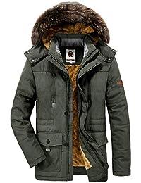 Winterjacke Herren Parka Gefüttert Baumwolle Mantel mit Pelzkragen Jacke Warm Outdoor Kapuzenjacke mit Fell, 03-Grün, Gr. XL