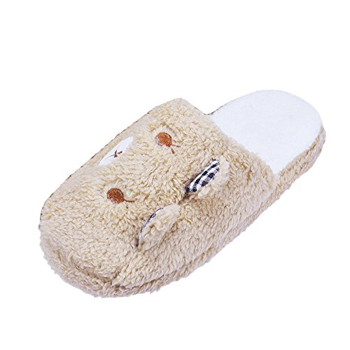 Fulltime(TM) Women Lovely Bear Home Floor Soft Cotton-padded Velvet Slippers Shoes 36-40 (6, Coffee)