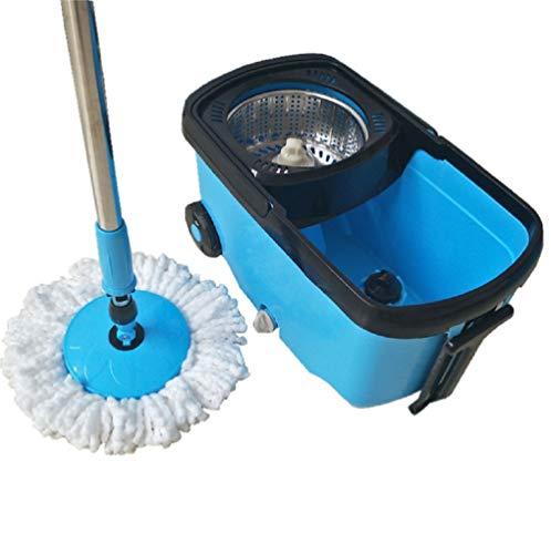 Lm mocio rotante lavapavimenti set - acciao inox 360 ° mocio rotante manico estensibile con due teste in microfibra strizzare facile
