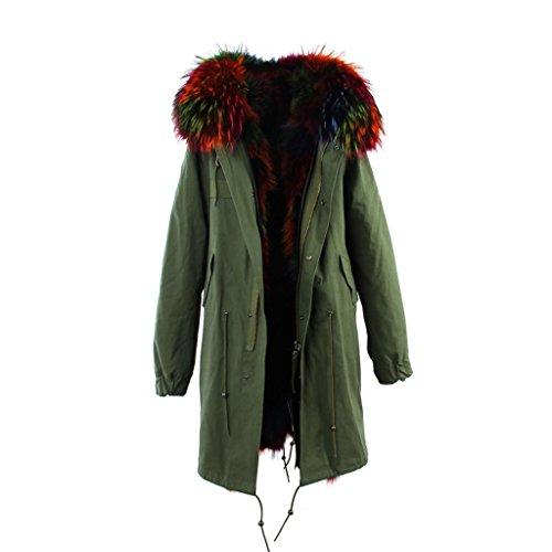 PARKA XXL Kragen aus 100% ECHTPELZ ECHTFELL Jacke Mantel Khaki Bunt Multicolor Pelz 3 Varianten Multicolor 1