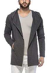Tinted Mens Cotton Blend Hooded Cardigan (X-Large, Anthera)