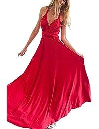 Vestidos Para Mujer Vintage Casual Coctel V Cuello Fiesta Para Bodas Largos De Noche Ceremonia Ropa Vestidos Rojo S