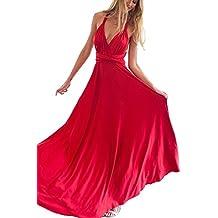 Vestidos Para Mujer Vintage Casual Coctel V Cuello Fiesta Para Bodas Largos De Noche Ceremonia Ropa Vestidos Rojo XL