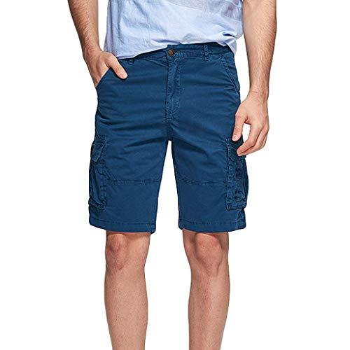 Xmiral Shorts Hose Herren Cargohose Taste Reißverschluss Overall mit Mehreren Taschen für Fitness Ball Jogger Strassenmode Badehose Strandhosen Sporthose(Dunkelblau,3XL) -