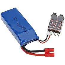 Goolsky 7.4V 2000mAh batería de Lipo (enchufe de plátano) con un probador de tensión de alarma zumbido de Syma X8C X8G X8W X8HC X8HW X8HG RC Quadcopter
