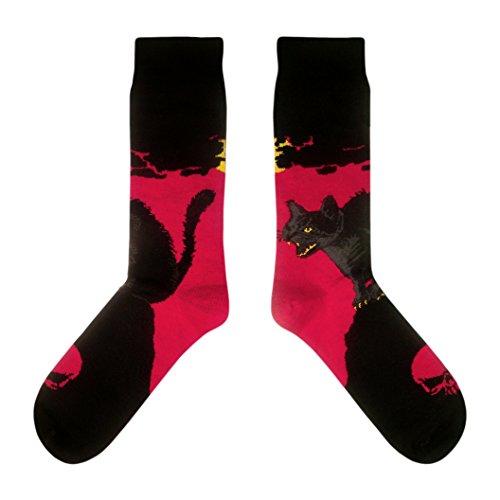 chwarze Katze / Tomcat / Horror - Socken in der Tasse - Herren und Damen Geschenksocken Freizeit Socken (41-44) (Halloween-socken)