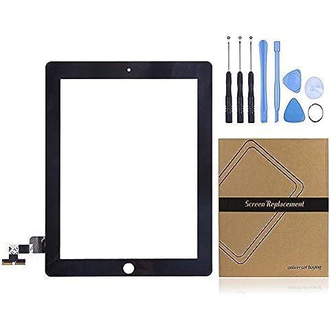 Universal de la compra (TM) iPad pantalla táctil digitalizador Panel Frontal Exterior lente de cristal de repuesto para Apple iPad 2GEN negro negro iPad 2 Touch