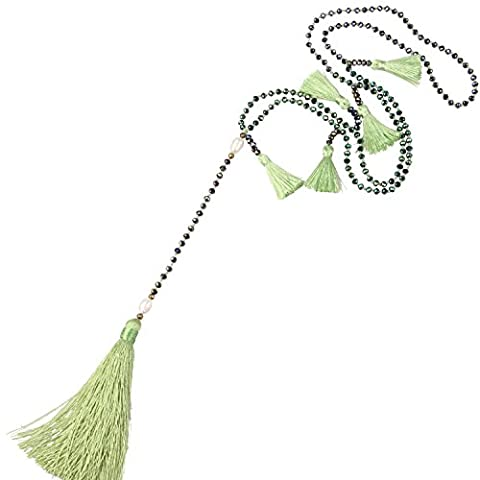 KELITCH Eau fraiche Perles Cristal Perles Chaîne Gland Pendentif Ultra Longue Collier - Vert