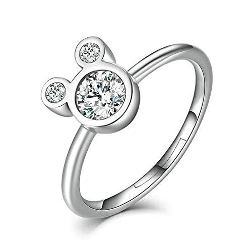 24 JOYAS Ring Mickey Mouse einstellbar 925 Sterling Silber und AAA Zirkonia für Mädchen, Mädchen, Frauen, Geburtstag, Jubiläum oder Romantisches Geschenk